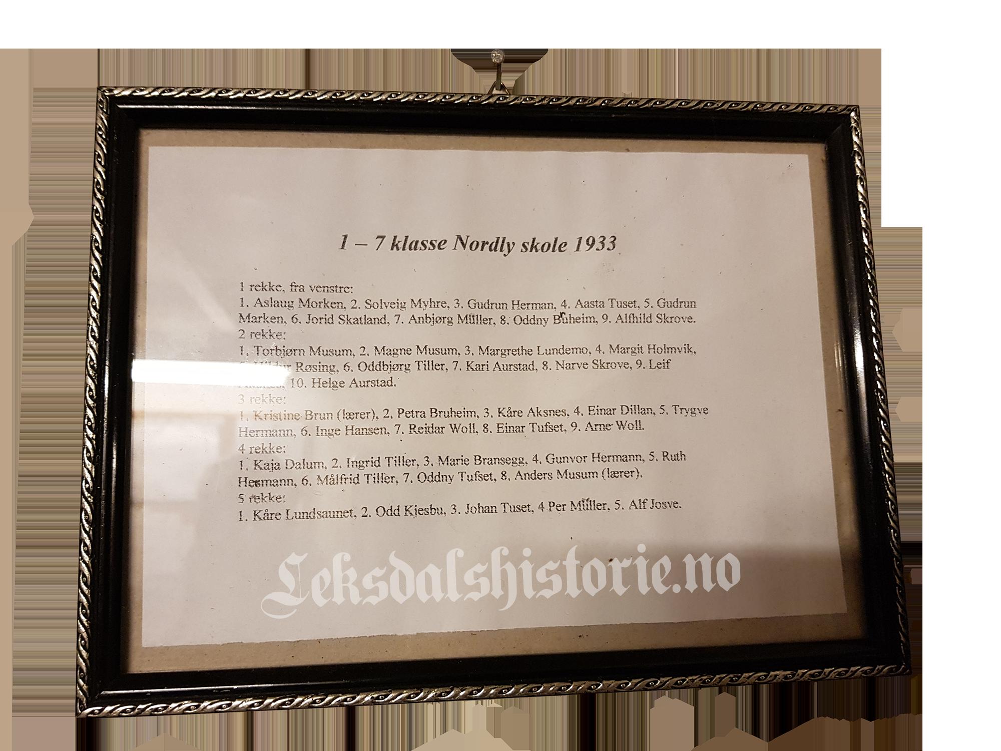 Elevene på Nordly i 1933. Bildet er tatt på Leksdal Museum.